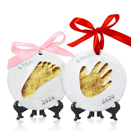 Baby Handprint Footprint Ornament Keepsake Kit - Personalized Baby Prints Ornaments for Newborn - Baby Nursery Memory Art Kit - Baby Shower Gifts, Christmas Gifts (Gold Paint)