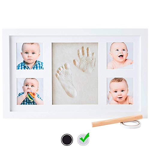 Baby Handprint Kit by Little Hippo |Deluxe Size + NO Mold| Baby Picture Frame & Non Toxic Clay! Baby Footprint kit, Perfect for Baby Boy Gifts, and Baby Girls Gifts! (White, Deluxe) - MyShoppingSpot