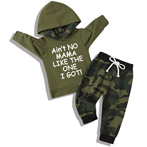 Toddler Baby Boy Clothes Outfit Ain't No Mama Like The One I Got Long Sleeve Hoodie Pants Fall Winter Clothes Set for Baby Boy (Camouflage Green, 18-24Month)