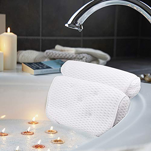 AmazeFan Bath Pillow, Bathtub Spa Pillow with 4D Air Mesh Technology and 7 Suction Cups, Helps Support Head, Back, Shoulder and Neck, Fits All Bathtub, Hot Tub and Home Spa - MyShoppingSpot
