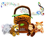 Educational Plush Toy Talking Animal Set (5 Pcs - Plays Real Sounds) with Carrier for Kids | Stuffed Monkey, Giraffe, Tiger & Elephant | Safari Animals | Great Baby Shower Gift - MyShoppingSpot
