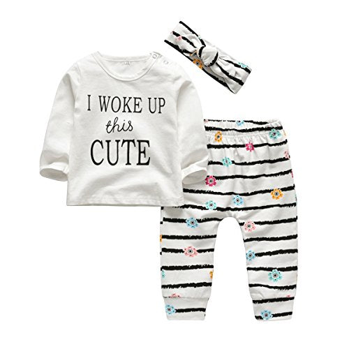 3Pcs Baby Girl Outfits Set I Woke Up This Cute Long Sleeve T-Shirt Tops Flowers Pants with Headband (18-24 Months) White