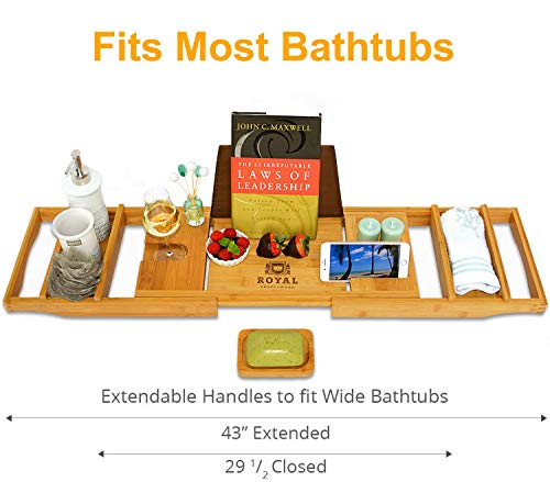 ROYAL CRAFT WOOD Luxury Bathtub Caddy Tray, One or Two Person Bath and Bed Tray, Bonus Free Soap Holder (Natural) - MyShoppingSpot