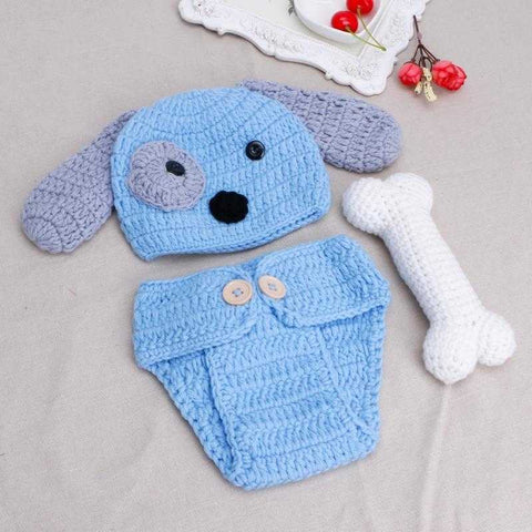 Image of Newborn Photo Prop Crochet Dog Outfit - MyShoppingSpot