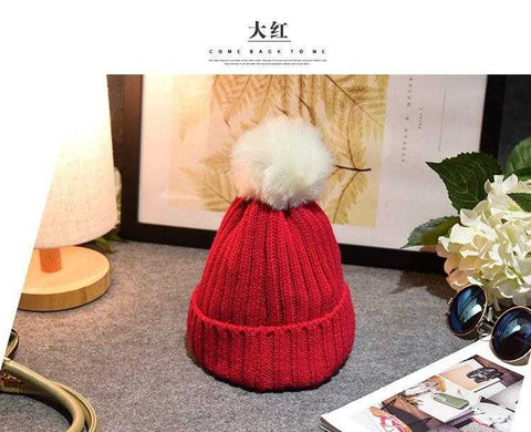 Image of Baby / Toddler Crochet Beanie with PomPom (Faux Fur) - MyShoppingSpot
