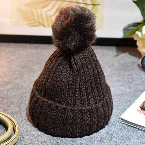 Baby / Toddler Crochet Beanie with PomPom (Faux Fur)  - FREE Shipping - MyShoppingSpot