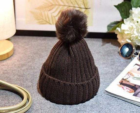 Baby / Toddler Crochet Beanie with PomPom (Faux Fur) - MyShoppingSpot