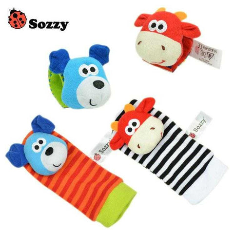 Image of Baby Wrist Strap Rattles & Animal Socks - MyShoppingSpot