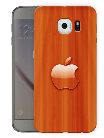 Apple Wooden Texture Printed Designer Mobile Back Cover For Samsing Galaxy S6