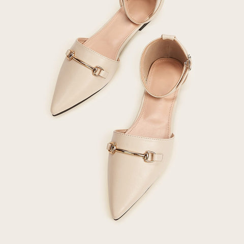 Cream Point Toe Ankle Strap Flats