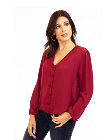 currant red colored button up blouse