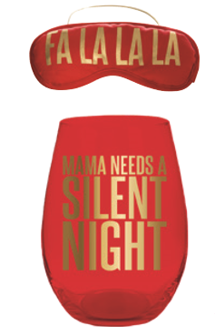 Christmas Stemless Wine Glass & Eye Mask Gift Set