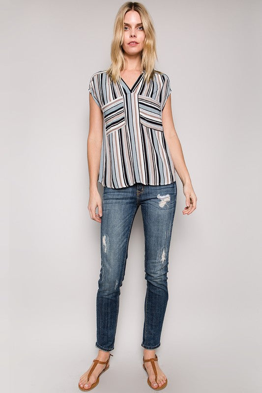 Striped Top with Pocket Detail