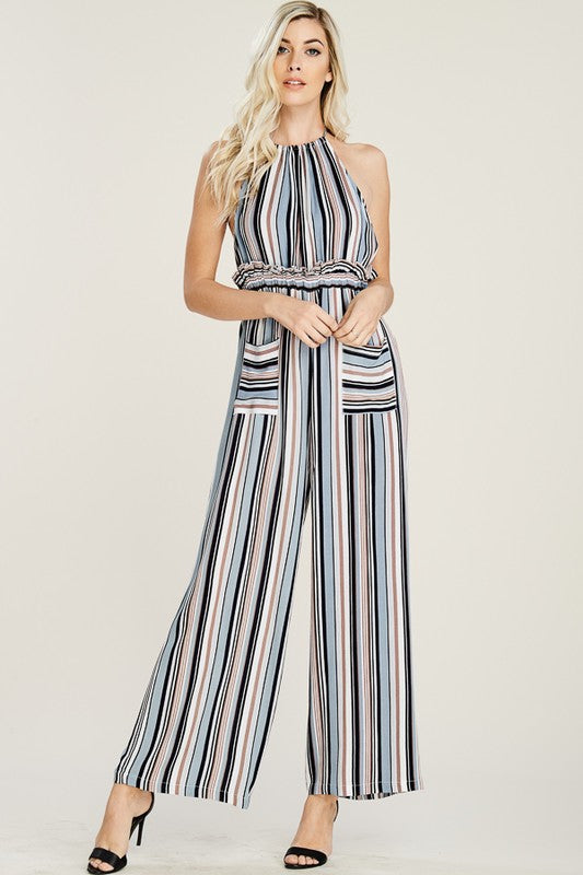 Striped Halter Open Back Jumpsuit