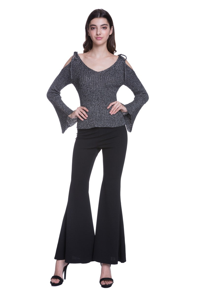 Cold Shoulder Lurex Sweater