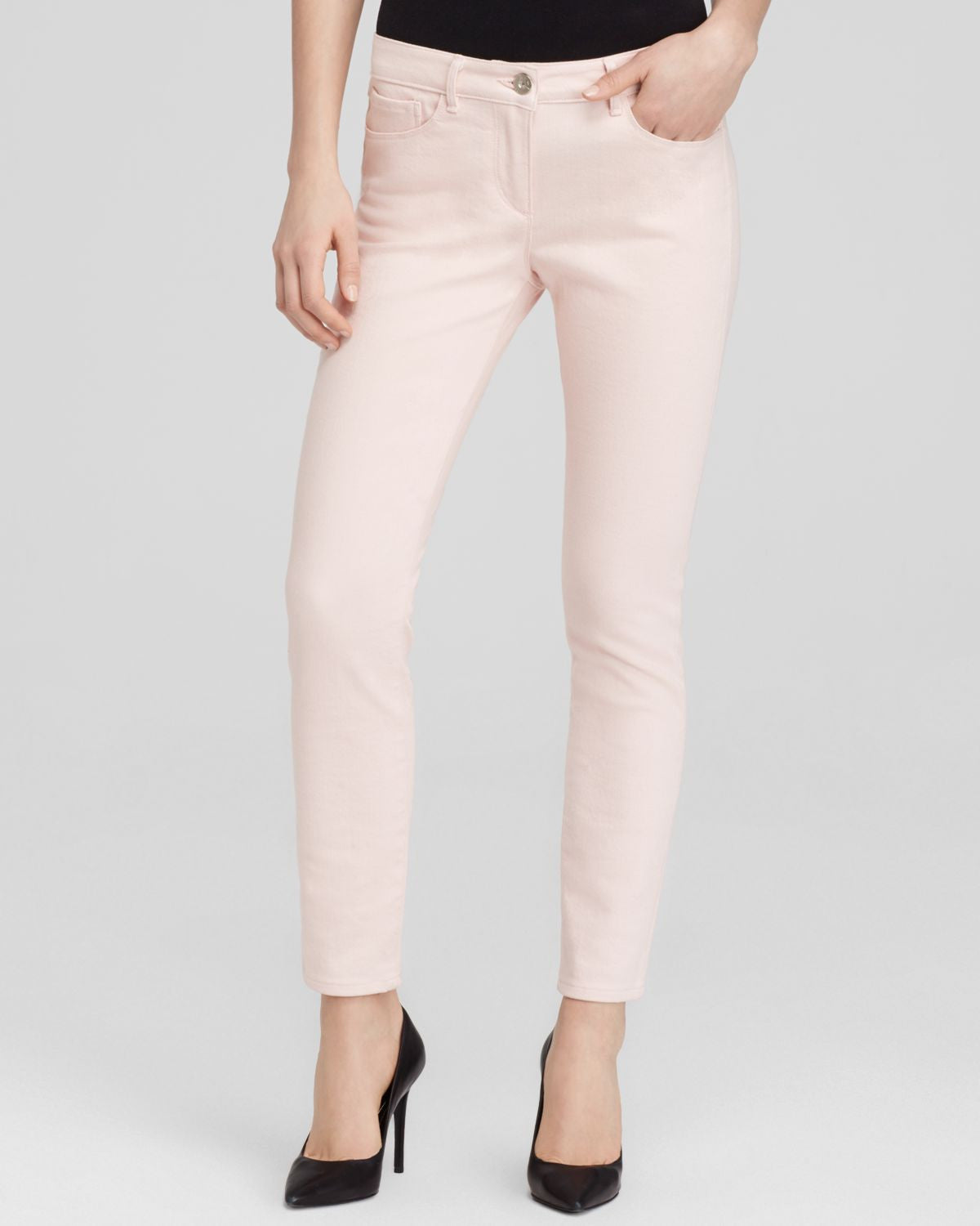 Women's Pink Cropped Pencil Jeans - Sunset