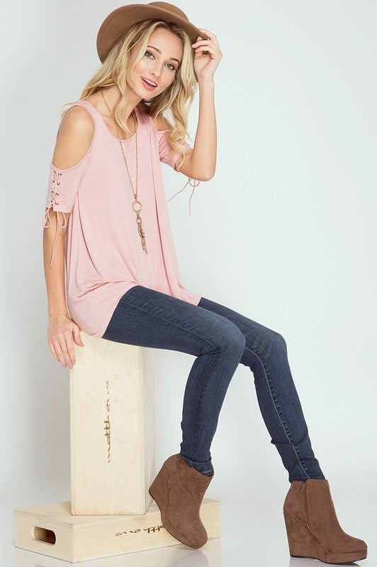 Rose All Day Cold Shoulder Top