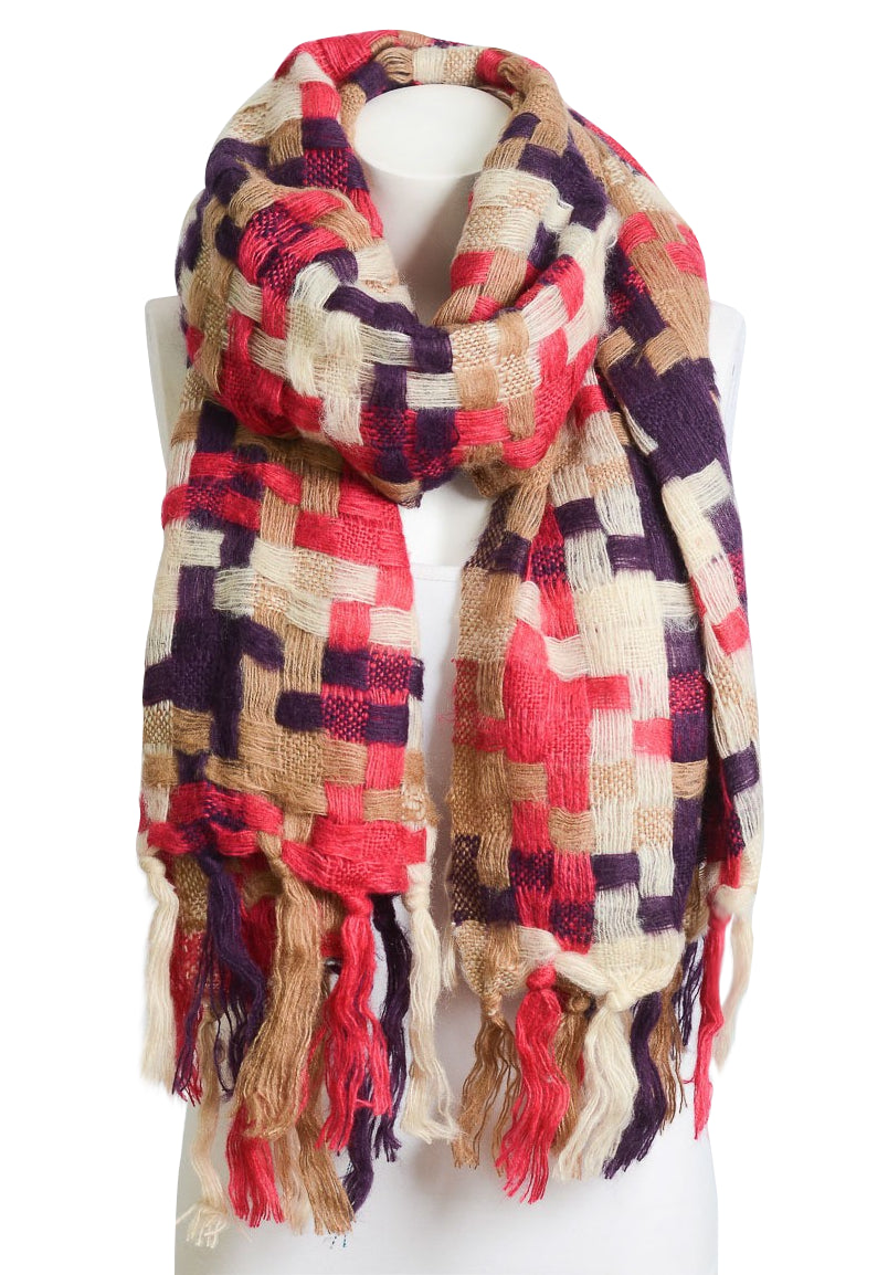 Fall Multi-Color Patchwork Scarf