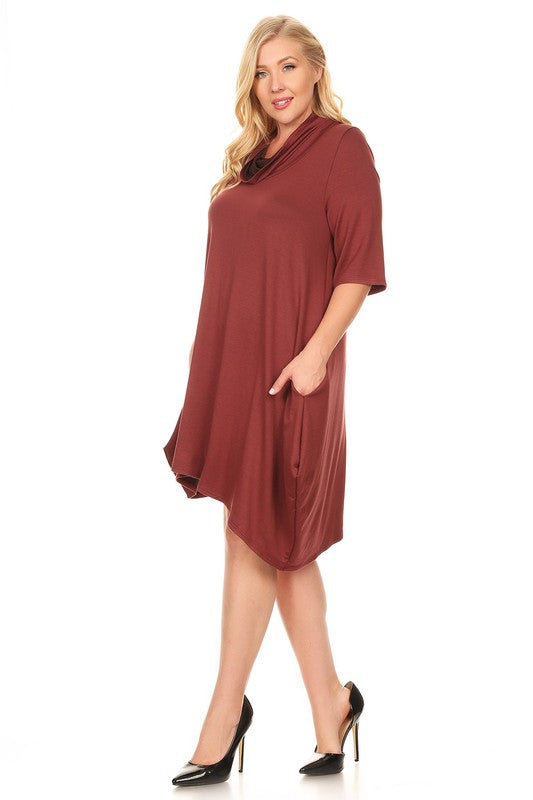 Mid Sleeve Knit Dress - Plus Size