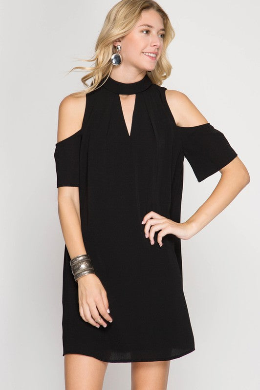 Silent Night Cold Shoulder Dress
