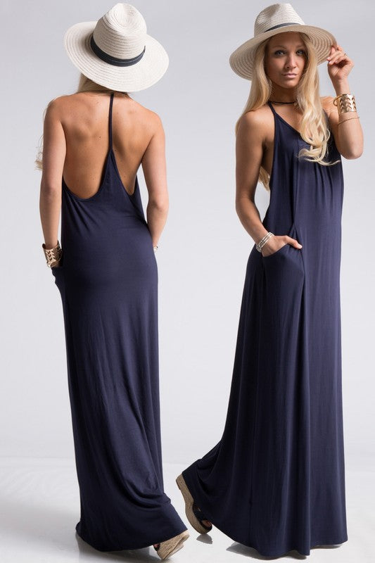 Jersey T Strap Back Maxi Dress with Pockets