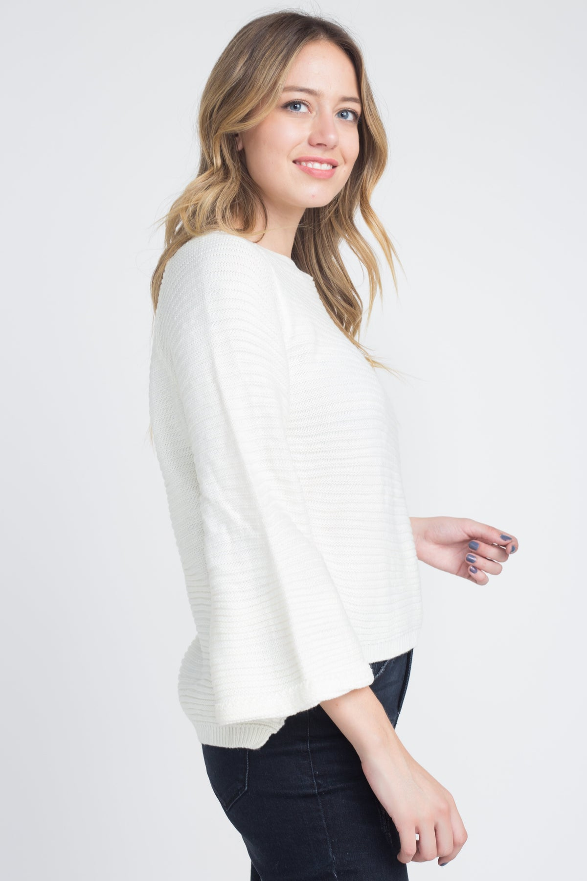 White Knit Bell Sleeve Sweater