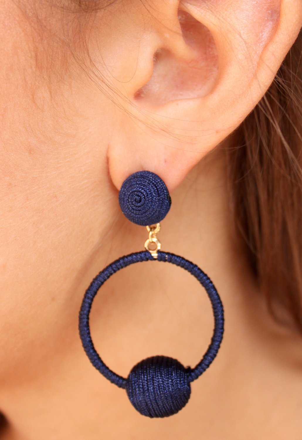 Thread Wrapped Ball Hoop Earrings