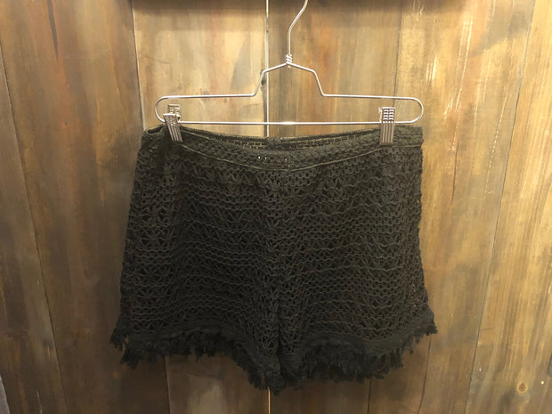 Black Crochet Shorts