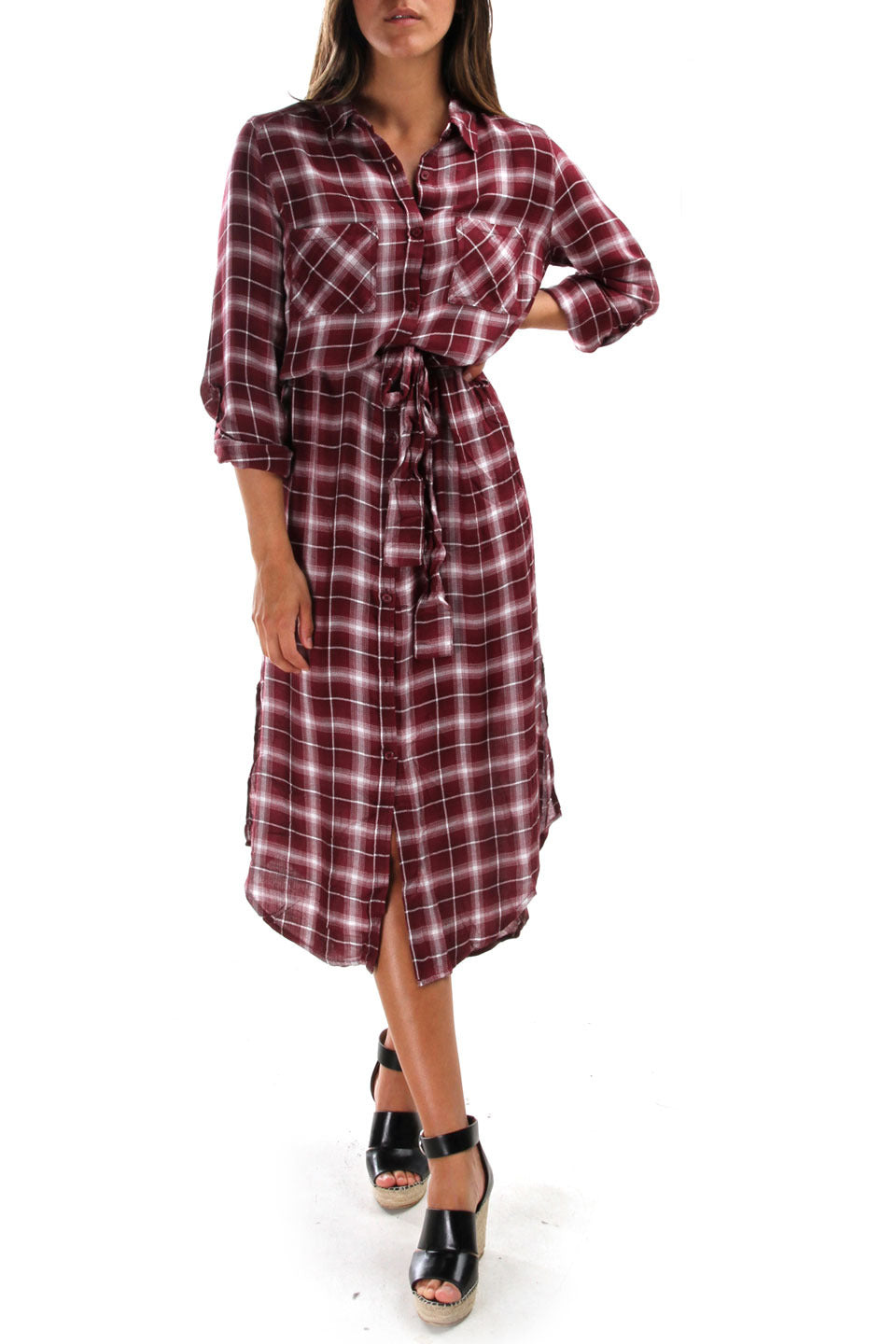 Merlot Plaid Shirt Dress