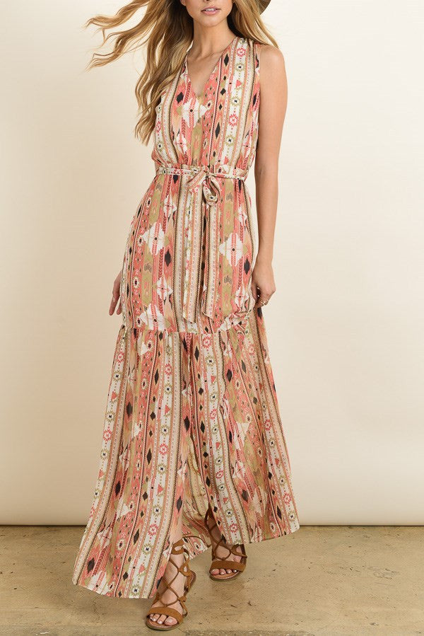 Navajo Printed Maxi-dress with Slitted Ruffle Hem