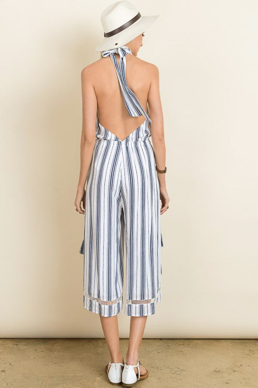 Striped high neck jump-suit