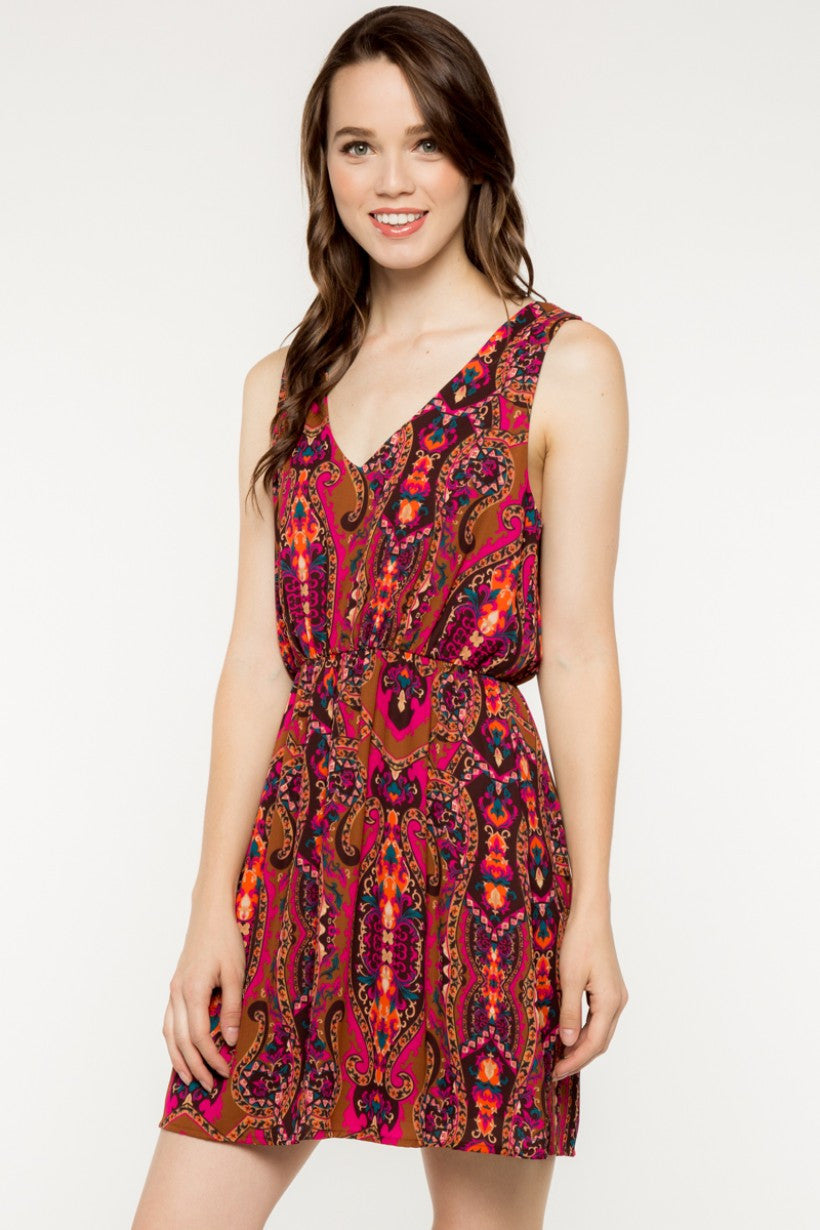 Grace Sleeveless Printed Vneck Dress