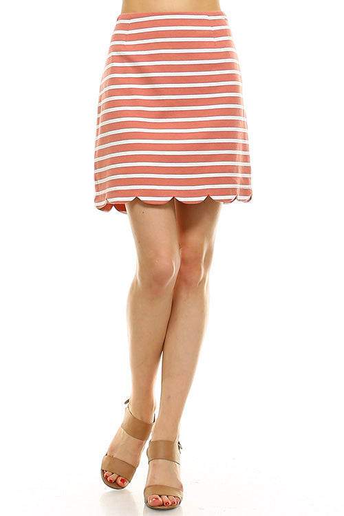 Striped Scalloped Hem Mini Skirt