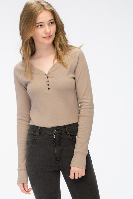 Hannah Long Sleeve Ribbed Shirt -Iced Coffee