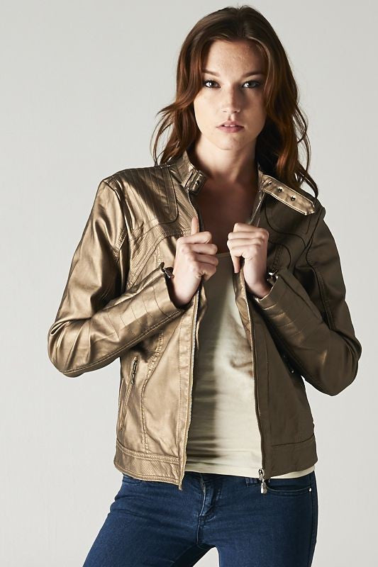 Sandy's Faux Leather Metallic Moto Jacket