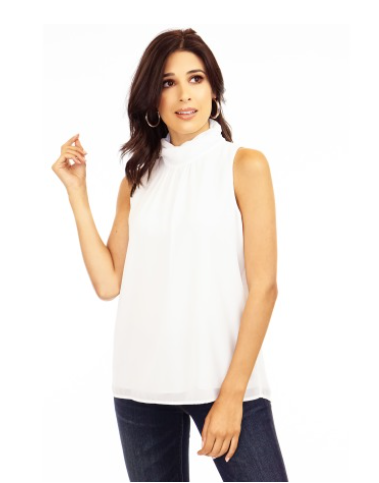 Ivory Chiffon Turtleneck Blouse