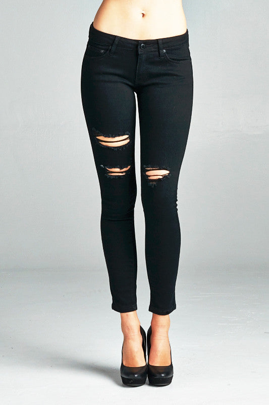 Julia Distressed Black Skinny Jeans