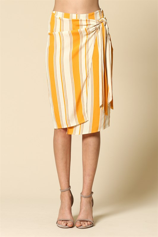 Mustard Striped Mid Length Skirt
