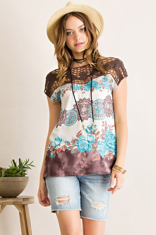 Mila Printed Crochet Top