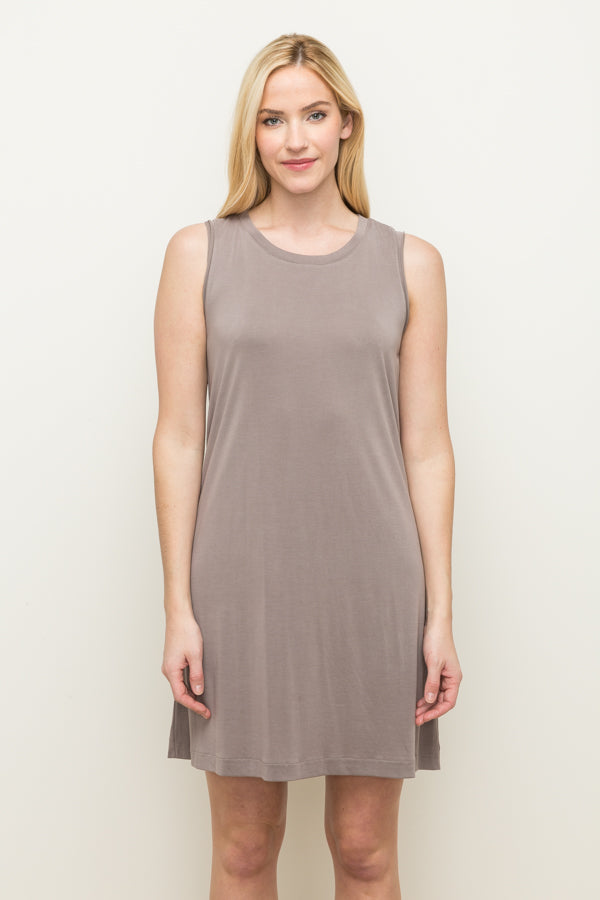 Sleeveless Drape Overlap Back Dress