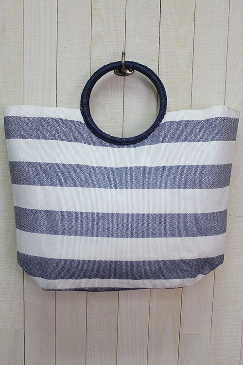 Wide Stripe Beach Bag