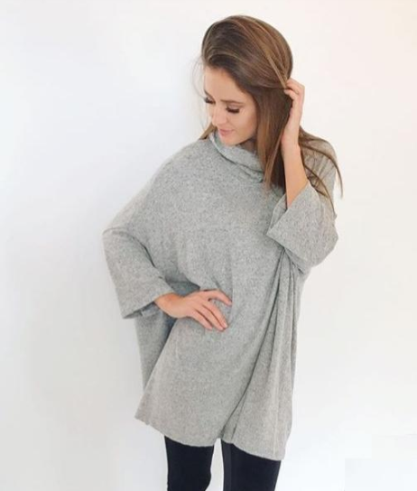Cowl Neck Sweater Poncho