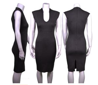 High Collar U Neckline Dress