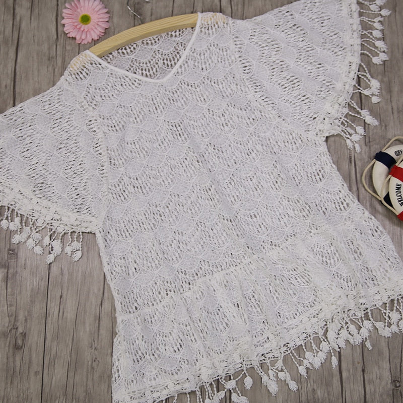 White Crochet Tassel Coverup