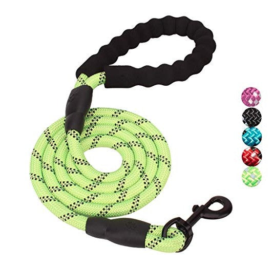 5 FT Dog Leash With Comfortable Padded Handle and Reflective Threads