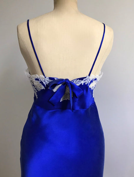 Lace-trimmed slip dress in royal-blue silk