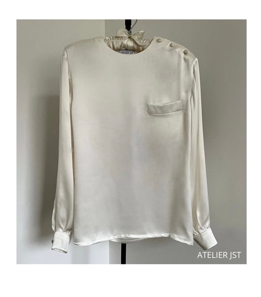 Long sleeve silk-satin blouse