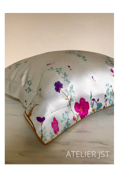 Pure Silk Oxford Pillowcase - Dutch Garden