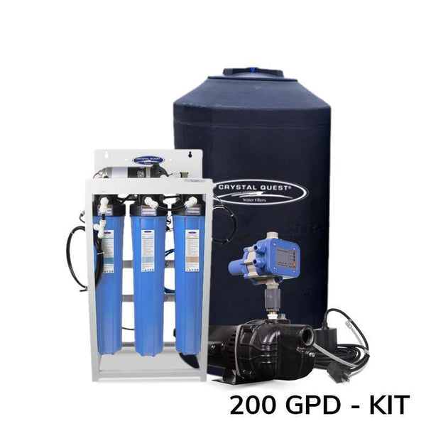 Crystal Quest Commercial R O Filtration System 200 GPD w/ 165 Gallon Storage Tank Kit - PureWaterGuys.com