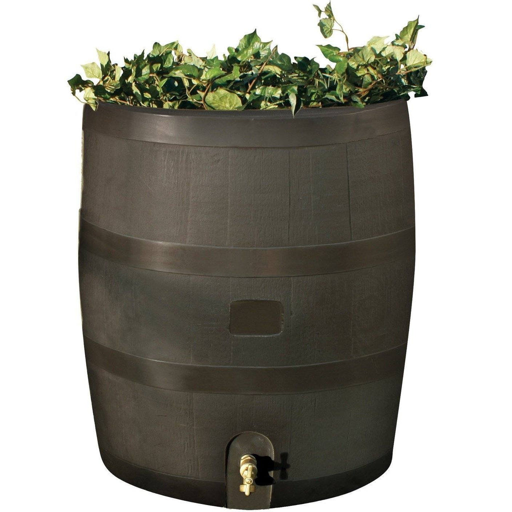 RTS - RAIN BARREL With Planter - Mud - With Brass Spigot - PureWaterGuys.com